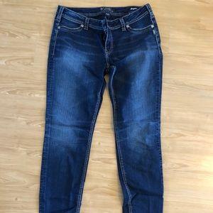 Suki Mid Super Skinny Silver Jeans Size 34